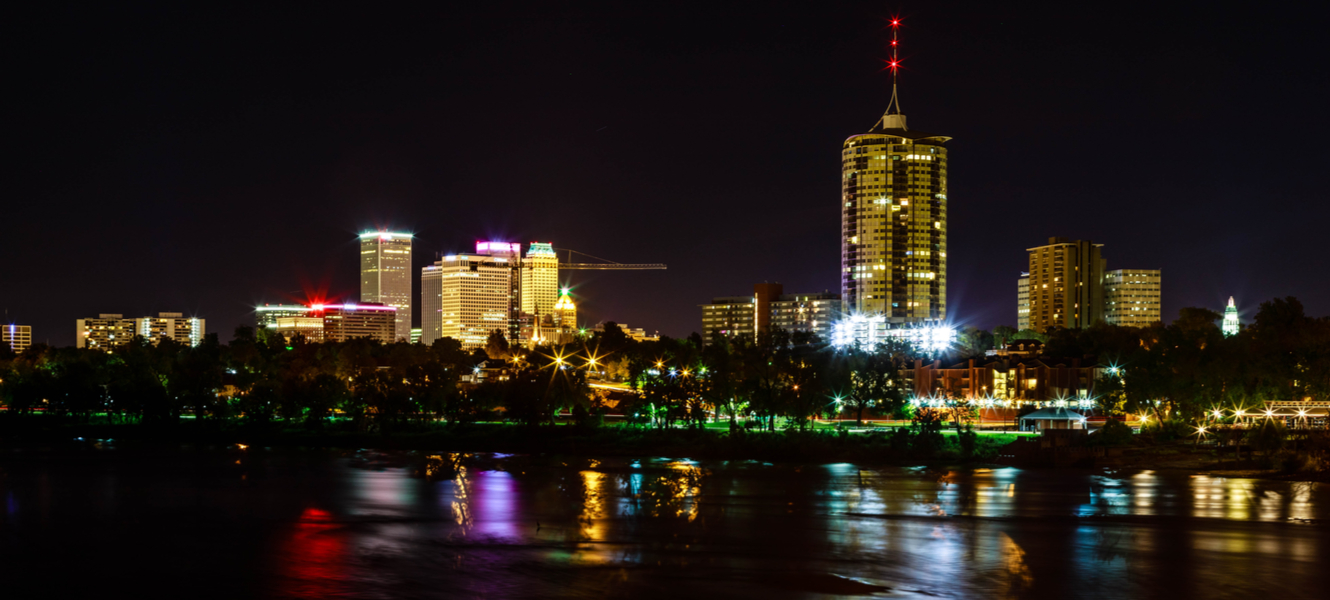 Elongated Tulsa night skyline